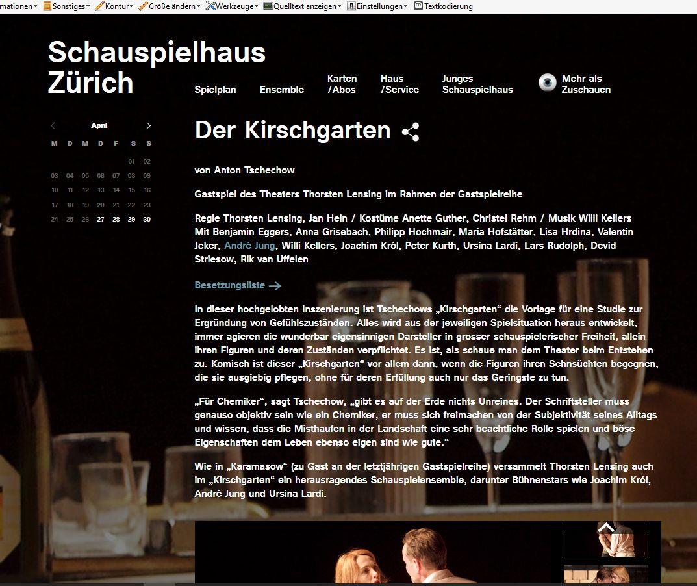 Schauspielhaus Zürich, 2016: Der Kirschgarten